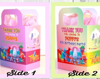 Personalised Trolls Party Boxes, Bags, Favor, Treat, Goodie, sweets, Gift Boxes, Pink, With Tissue paper