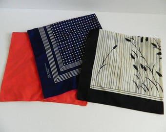 Set of 3 Vintage Large Cotton Handkerchiefs