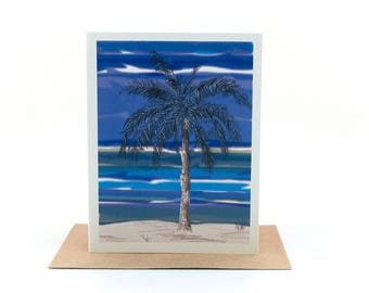 palm tree | tropical greeting card | ocean view island |just because card |everyday greeting card |encouragement card | beach christmas card