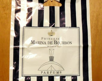 Vintage 1990s Princesse Marina de Bourbon Perfume Promotional Plastic Shopping Bag Designer Fragrance Collectible