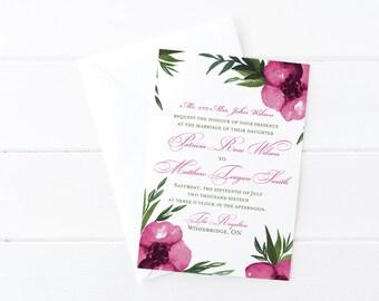 """Floral Invitation Watercolor Wedding Invitation - Rose Pink Wedding """"Everlasting"""" Watercolor Invitation - Watercolor Flowers Invite DEPOSIT"""