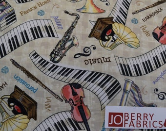 Music Instruments from 2018 Row by Row Collection by Debra Gabel of Zebra Patterns for Timeless Treasures, Craft Fabric, Fabric by the Yard.