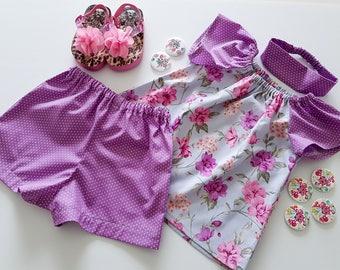 Girls Shorts And Top Set, Girls Clothing, Toddler Clothes, Purple Girls Clothes, Shorts And Top