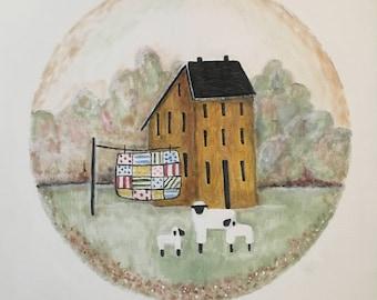 "Canvas painting print - ""Saltbox House"""