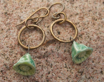 Antique Brass and Ceramic Flower Earrings