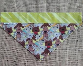 Cute Doggie Print Bandana Double Sided Collar Style