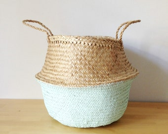 Dipped Mint Green Belly Basket Seagrass Panier Poule Nursery Toy Storage Planter Laundry