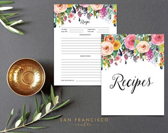 Printable Recipe Sheet and Cover | Recipe Binder Insert | US Letter |  Floral | Digital Files- Ashley - PDF - Instant Download