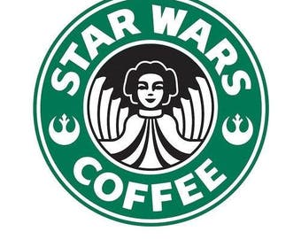 DIY Star Wars Princess Coffee Vinyl Decal, Coffee Drinker Logo, Laptop Decal, Tablet, Decal, Coffee Cup Decal, Stainless Steel Cup Decal