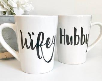Wifey and Hubby 14oz Coffee Mug Set, Coffee Cup, Couples Mugs, Wifey Mug, Hubby Mug, Wedding Gift, his and hers, Mr and Mrs mugs, Engagement