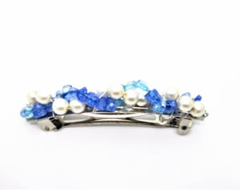 "Blue & White French Hair Barrette, Faux Pearls and Blue Glass Chips, Wire-Wrapped 3"" Hair Barrette, Bridal Hair Accessories, Gifts for Her"