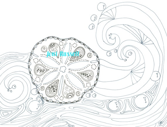 Sand Dollar and Waves, Zendoodle Coloring Page from ...