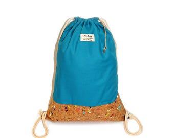 Ochos | Ocean-Blue Cork Sack Bag