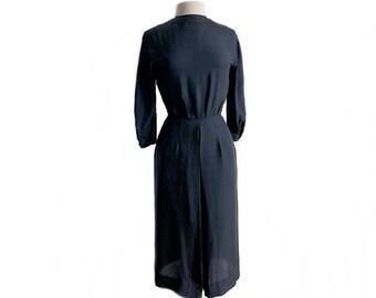 Vintage 60s black silk dress/ long sleeve/ back buttons/ office dress/ cocktail party dress