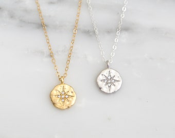 CZ North Star Necklace / Gold Filled Polaris Necklace / Dainty Gold Coin Necklace / Constellation Necklace / Graduation Gift / Gift for Her