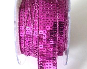 Galon a paillettes carré rose PARME en 5 rangs - 2cm
