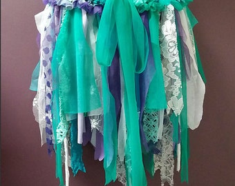 MERMAID TUTU, festival clothing, sea theme tutu, aqua green purple white, whimsical tutu, fairy tutu skirt, tattered dance costume, cosplay