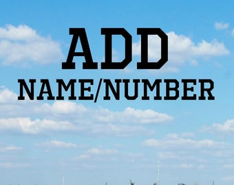 Add a Name or Number to back of Sports Shirt