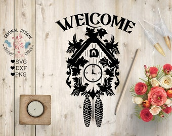 Cuckoo svg, Clock svg, Welcome svg, Cuckoo Clock Cut File in SVG, DXF, PNG, Cuckoo dxf, Home Decoration svg, Home Deco svg, Wooden sign svg