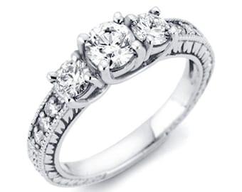 Vintage .33CT Three Stone Round Diamond Engagement Ring 14K White Gold