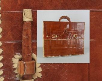 Vintage des années 70 cartable cuir Handtooled par Star alpha whipstitched