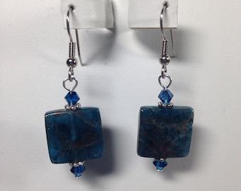 Blue Apatite & Swarovski Crystal Earrings, Gemstone Jewelry, Gemstone Earrings, Healing Jewelry