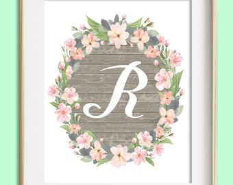 Letter R Printable, Instant Download, Baby Girl Nursery Wall Art, Girl Nursery Decor, Floral Monogram, Pink Mint Gray Letter Art, Baby Gift