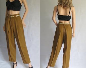 La moutarde brune pantalon pantalon, haut taille haute, plissée devant, jambe large conique, pantalon de maman, petit moyen, taille 28