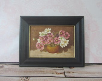 Small Vintage Floral painting Still Life On Canvas Board Framed Floral Painting