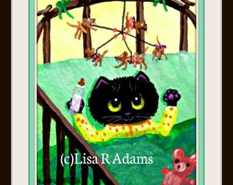 Whimsical Kitten Mouse ACEO Card Giclee Art Print Creationarts