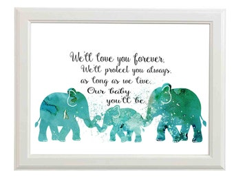 Nursery Art - Nursery Printable - Nursery Printable Art - Nursery Wall Decor - Elephant Nursery Decor - Love for a baby - Printable Art Blue