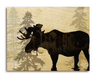 Moose art print on wood, evergreen tree silhouettes, Canadian wildlife
