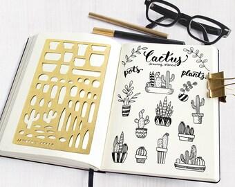 Bullet Journal Stencil, Planner Stencils, Cactus Drawing Stencils - fits A5 & Midori Regular (Cactus L)