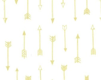 Arrow Crib Sheet- Gold and White - Metallic Gold Arrows - Tribal - Changing Pad Cover- Baby Bedding - Toddler Bedding -