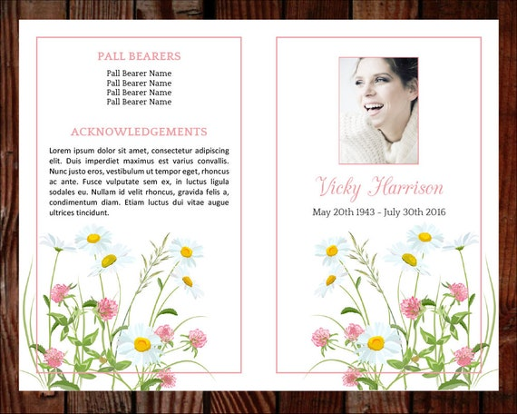 Funeral Program Template   Order Of Service | Memorial Program | Memorial  Service | Celebration Of Life | Funeral Templates (Daisies)  Celebration Of Life Templates