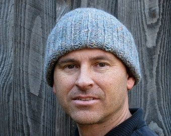Mens winter wool hat - hand knit from heathered grey wool