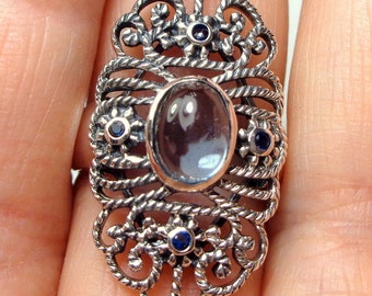 Vintage, Victorian Design, 2ct. Natural Aquamarine, Sapphire Accents, Sterling Silver, Filigree Ring