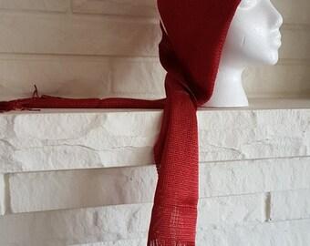 Vintage 70s Long Red-Orange Knit Scarf with fringe