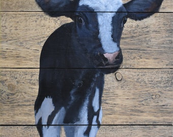 "John Kenward Original Painting on a Barn Board Panel ""Hubert"""