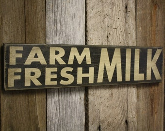 Farm Fresh Milk Sign, Fixer Upper Style, Wooden Farmhouse Sign, Farmhouse Decor, Farm Fresh Milk Decor