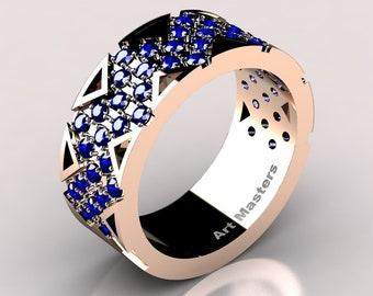 Womens Modern 14K Rose Gold Blue Sapphire Wedding Band R805F-14KRGBS