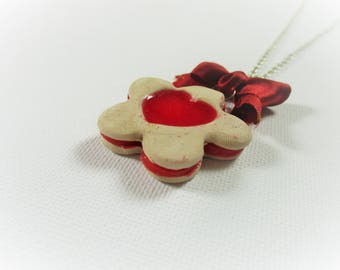Cookie heart flowing polymer clay necklace