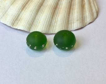Pair of lampwork glass beads