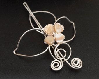 Silver Hair slide,hairbun holder leaf hair barrette ,silver hair bun holder,Peach Mother Of Pearl Hearts hair bun jewellery