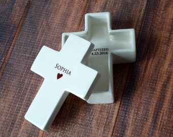 Personalized Baptism Gift, First Communion Gift or Confirmation Gift - Cross Keepsake Box - With Gift Box