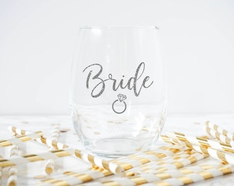 Bride Wine Glass- Bridal Glass-Bridal Shower Favor- Bridal Shower Gift- Bridal Wine Glass- Bachelorette Party Favor- Bride To Be Gift