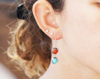 CORAL and TURQUOISE EARRINGS Sterling Leverback NewWorldGems