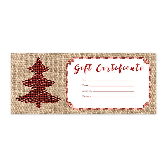 Items Similar To Burlap Plaid Christmas Tree Gift Certificate