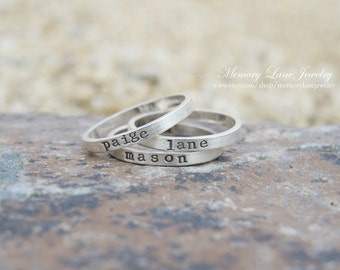 Sterling Silver Stacking Rings - Handmade Ring - Hand Stamped Ring - Personlaized stacking rings - Mommy Rings - Stackable Rings