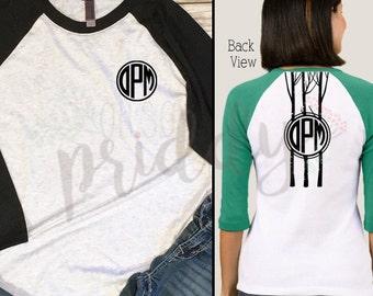 Tree Branch Monogram, Backside, Custom Vinyl T-Shirt, Women's Shirt, Vinyl Shirt, Baseball Tee, Raglan Tee, Inspirational Quote, Quote Tee